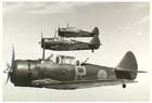 On 21 January 1942 eight Australian <I>Wirraways</I> of No. 24 Squadron RAAF made a valiant but futile attempt to defend Rabaul from Japanese air attack.  The <i>Wirraway</i> (like the ones seen here in 1940), an Australian-built 2-seat training aircraft, was no match for powerful Japanese fighters like the Mitsubishi <i>Zero</i>.  Hopelessly outnumbered and outclassed, six of the eight <i>Wirraways</i> were lost and the surviving two were ordered to evacuate to Lae later that day.